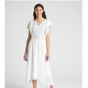 Gap White lace-trim flutter sleeve midi dress